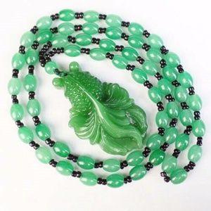 Carved Boho Green Jade Goldfish Necklace